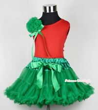 Xmas Kelly Green Pettiskirt Tutu Red Pettitop Top Bunch Rose with Bow Set 1-8Y