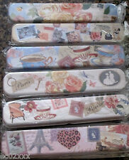 Vintage Retro Tin Pencil Case Box Caddy Parisian Design Shabby Chic Storage Meta