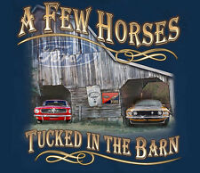 Ford Mustang A Few Horses In The Barn BLUE Adult T-shirt