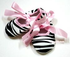 Infant Baby Toddler Girl Light Pink Zebra Crib Soft Flat Shoe with Ribbon 0-18M