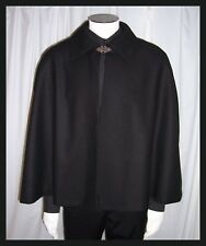 BLACK 100% WOOL Victorian Gentleman's Hip Length Cape Lining Choice Red Gold