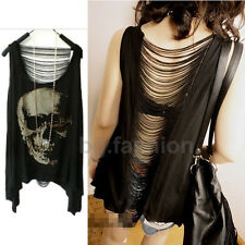 Women Skull Hollow T-shirt Asymmetrical Hem Backless Tassels Tank Top Vest Cami