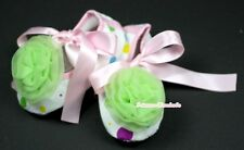 Infant Newborn Baby Girl Light Pink Rainbow Crib Shoes Lime Green Rose 0-18Month