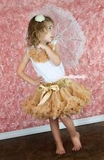 Pageant Golden FULL Pettiskirt Dress Tutu Goldenrod Rosettes White Top Set 1-8Y