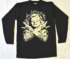 MARILYN MONROE MENS BLACK T SHIRT LONG SLEEVE POISON TATTOO CROWN THORNS PUNK