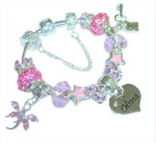 CHILDRENS/GIRLS/TEENS LIGHT PINK & SILVER CHARM BRACELET PERSONALISED  NAMES K-M