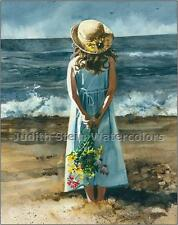 "BEACH GIRL ""Beauty Before the Storm "" Watercolor Painting Art Print JUDITH STEIN"