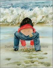 "BEACH GIRL SAND CASTLE ""Sandbox"" Watercolor Painting Art Print JUDITH STEIN"