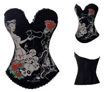 Nurse skull printed hook up corset basque night club lingerie top