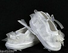 Girls White Satin Organza Trim Christening Shoes with Bow on Sole 00, 0, 1, 2, 3