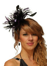 Black & Purple Fascinator Wedding Hat Choose any colour satin & feathers