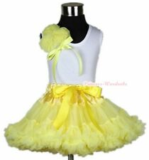 Yellow Pettiskirt Skirt & White Pettitop Top with Bunch Of Yellow Rosettes 1-8Y