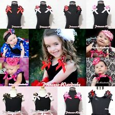 BLACK Pettitop Tank Top Shirt Vest wif Print Ruffle & Bow for Pettiskirt NB-10Y
