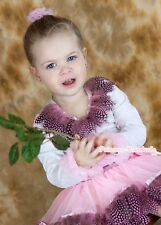 Light Pink Peacock Feather Baby Pettiskirt Skirt Feather White Long Sleeve 3-24M