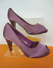 Ladies Peep Toe Synthetic Satin purple Occasion Court Shoes Feilida 7700