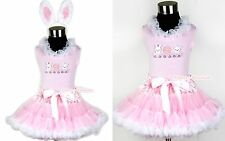 Light Pink White Pettiskirt Lacing Easter EGG & Rabbit Pink Top EAR Set 1-8Year