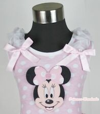Pink White Dot Pettitop Top with MINNIE White Shoulder Pink Bow for Skirt NB-8Y