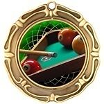 "3"" Spinning Pool Billiards Medals w/Ribbon Any Qty Ships Flat Rate in USA $5.49"