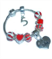 CHILDRENS/GIRLS PERSONALISED NAME/INITIAL & AGE CHARM BRACELET RED/SILVER BOXED