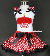 Minnie Red White Polka Dot Pettiskirt Red Birthday Cupcake White Top Set 1-8Year