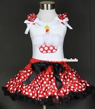 Minnie Red White Polka Dot Pettiskirt White Birthday Cupcake White Pettitop 1-8Y