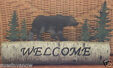 New Bear & Deer Wooden Welcome Sign Tabletoper Country Style Outdoors Cabin