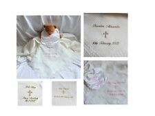 PERSOANLISED CHRISTENING / BAPTISM SHAWL WITH ORTHADOX CROSS IN WHITE OR IVORY