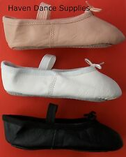 Pink, Black or White Leather Ballet shoes. All Sizes. Child 6-Large 5.5