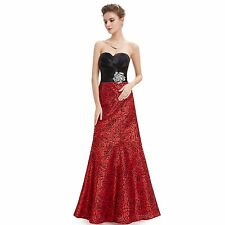 New Elegant Black and Red  Strapless Long Evening Formal Party  Gown Dress 09727