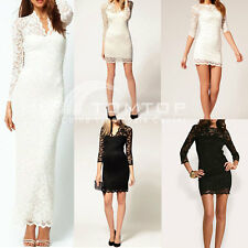 Black White Sexy Women Sheer Lace Slim Pencil Dress Prom Evening Cocktail Party