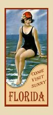Beautiful Florida Vintage Travel Poster Repro Pretty Gal by Beach FREE S/H
