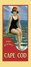 Cape Cod Vintage Poster Repro of Pretty Gal by Ocean Travel FREE S/H
