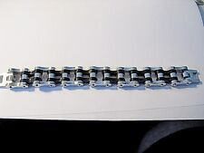 Mens Stainless  Primary Chain Black and Silver Biker Bracelet HPCSB-3/4