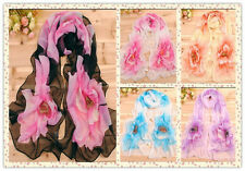 New Spring Lady's girl's Soft Thin Yarn Floral Pattern Scarf ShawlStole Optional