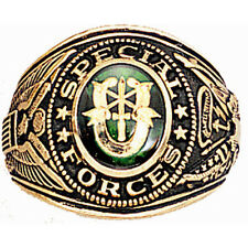 US Army Special Forces Green Beret Insignia Ring 18K Heavy Gold Plated