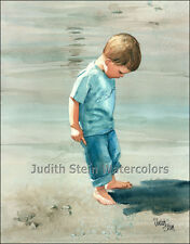 "BEACH BOY PLAY  ""Me and My Shadow"" Watercolor Painting Art Print JUDITH STEIN"