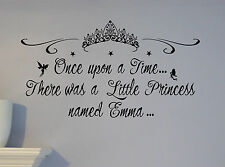 Personalized Name Little Princess Castle Wall Decal Mural Custom NURSERY CROWN