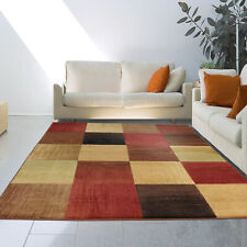 Modern Geometric Block Abstract Multi-Color Area Rug Contemporary Squares Carpet