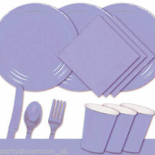 Lilac Tableware Party Table Cover Napkins Cups Wedding Cutlery Plates PS
