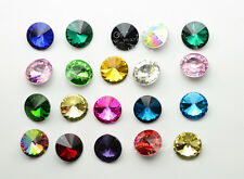 50 PCS 16mm Glass Color Faceted Glass Round Jewels