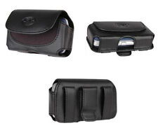 Leather Side Case Carry Pouch Cover Clip with Belt Loops for Cellphones