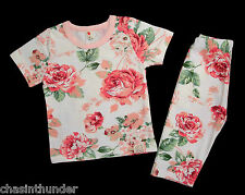 Floral Short Sleeve Top + Matching Cropped Bottoms - 9 - 12 Months to 3/4 Years