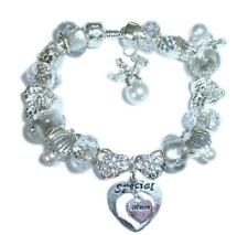 PERSONALISE SPARKLING SILVER ANGEL & ANGEL WINGS CHARM BRACELET GIFT BOXE