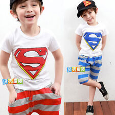 Boys Kids Graphic Pattern Short Sleeve T-shirt Tops Tee Striped Middle Pants 1GT