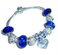 PERSONALISE ROYAL BLUE SILVER CHARM BRACELET XMAS/BIRTHDAYS/WEDDINGS GIFT BOXED