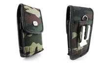 Vertical Camouflage Camo Rugged Heavy Duty Canvas Pouch Cover Case Clip Loop