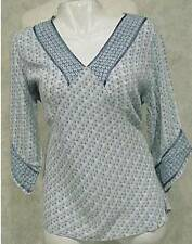 "Women""s Angelique Blue Tunic Hobo Gypsy Hippie Beaded Top Shirt S M L Brand New"