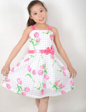 Sunny Fashion Girls Dress Pink Rose Flower Dot Princess Child Clothes Size 5-12
