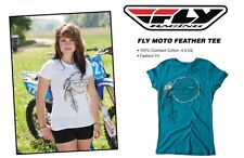 Girls Fly Racing Moto Feather Tee Shirt T-Shirt Teal Moto-X Race Dirt Bike Arena