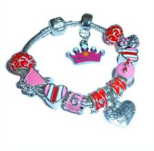 CHILDRENS/GIRLS PRINCESS BIRTHDAY AGE CHARM BRACELET TO PERSONALISE + INITIAL